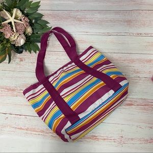 Colorful Striped Insulated Tote